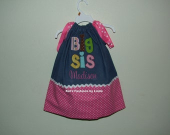 Personalized Big Sis Denim/Hot Pink Dot Pillowcase Dress-Personalization INCLUDED