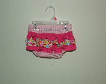 Ruffle Pink Diaper Cover with Hot Pink/Vine/Hot Pink Ruffles