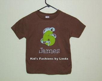 Personalized Snake 6  Birthday Tshirt