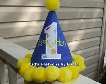 Personalized Royal  Blue/White Dot Applique Number/Yellow Pom Pom Birthday Hat
