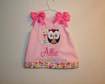 Personalized Pink Aline Dress with Owl and Number  Applique