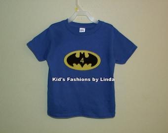 Personalized Birthday Royal Blue Tshirt with Batman Applique