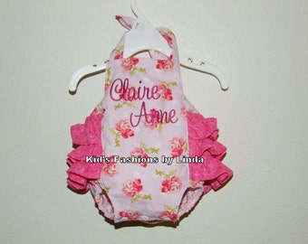 Personalized Roses Baby/ Toddler Ruffle Bubble Romper