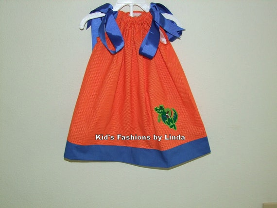 Orange Mini Dot/Royal Blue Dress with Gator Carrying Football