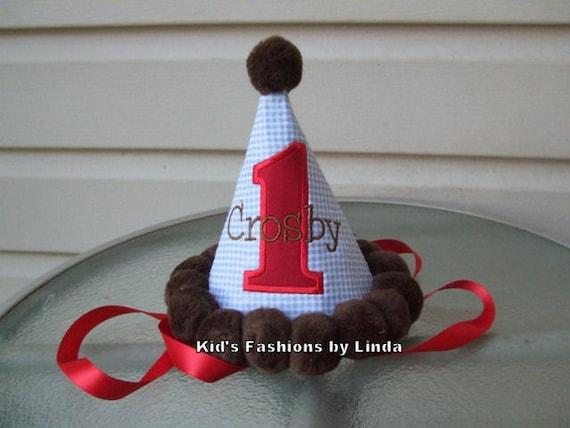 Personalized Blue Gingham Seersucker /Red Applique Number/Brown Pom Pom Birthday Hat