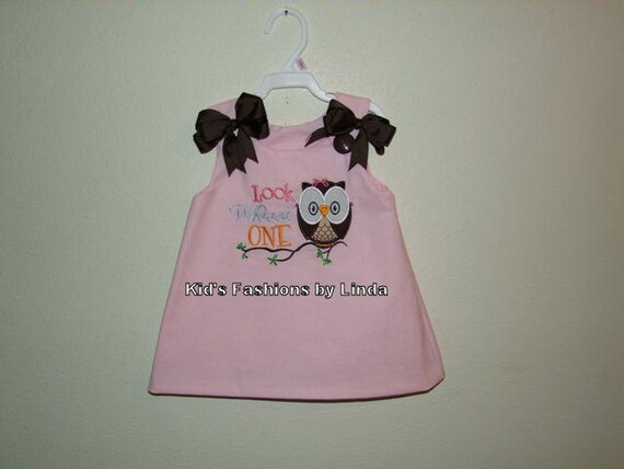 Pink Aline Dress with Look Whoooos One Owl Applique