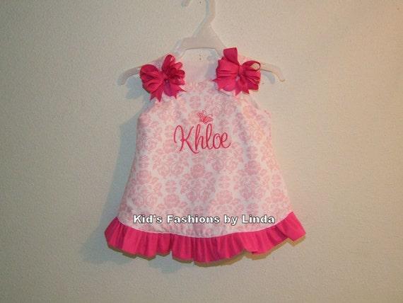 Personalized Pink/White Damask Aline Dress with Hot Pink Ruffle
