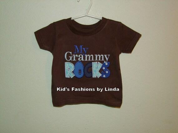 Brown/Blue My Grammy Rocks Short Sleeve Shirt