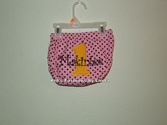 Personalized Birthday Number  Pink Brown Dots/Yellow Number Diaper Cover