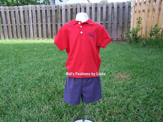 Monogrammed Red Polo /Navy Pin Dot Short set