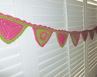 Sweet Crochet Bunting Banner Wall Decor Bright Pink and Light Olive Green