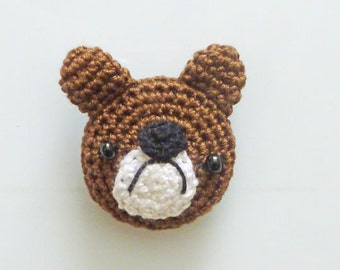 Hand Crocheted Brown Bear Kitchen Magnet