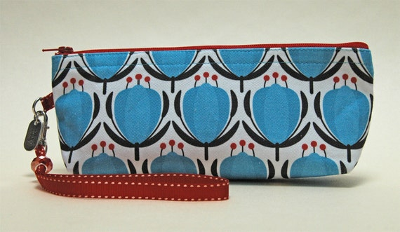 Graphic Floral Pattern Zipper Pouch, Handmade, Black, Red, Turquoise, White