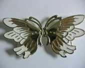 Gold and White Butterfly Belt Buckle