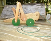 Vintage Wooden Grasshopper pull toy... from 1984