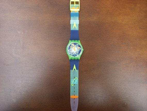 Vintage swatch 1992 Wave Rebel Watch..Model GJ107