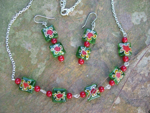 Green Millefiori with Ruby bamboo coral bead necklace and earring set..