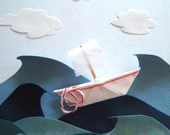 Out to sea. Origami sailboat shadow box diorama.