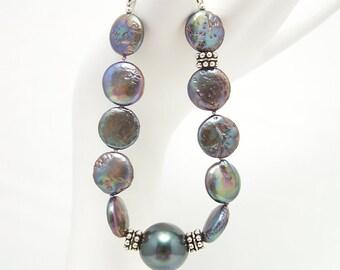 Peacock Pearls & Sterling Silver Bracelet 112BA