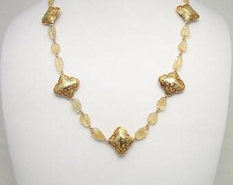 Golden Citrine & Gold Necklace Set 209S