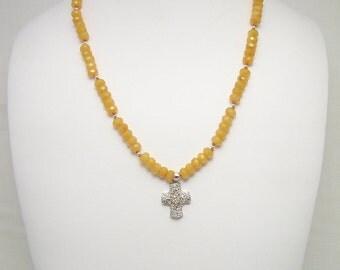 Butterscotch Jade & Sterling Pendant Necklace Set 173S