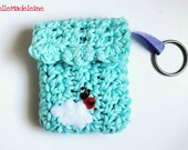 crochet Key-chain/lined-pouch aqua blue, Ladybug on a cloud keychain