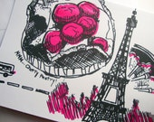 SALE Eiffel Tower, Screen Printed Blank Card and Envelope