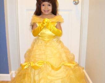 Child Deluxe Belle from Beauty and the Beast Costume, Gloves, Wig - Size 4, 4T