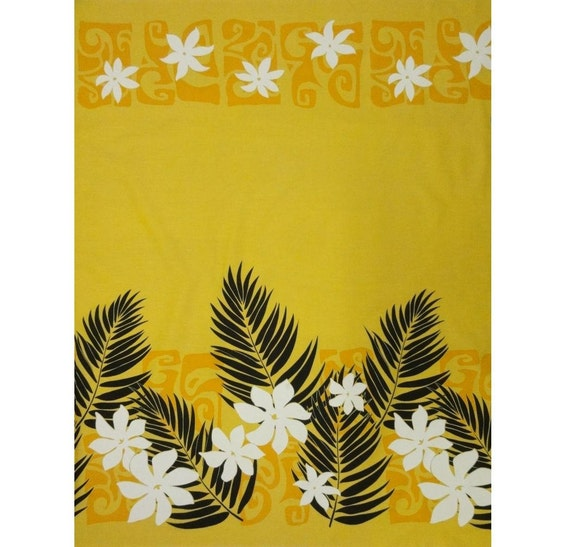 "Hawaiian Tahitian Fabric, Yellow with Black, White and Yellow Print - 45"" wide, 2 yd"