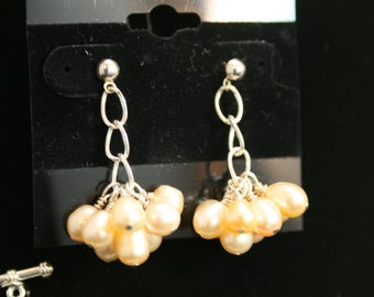 Pale Peach and Pearls Cluster Earrings
