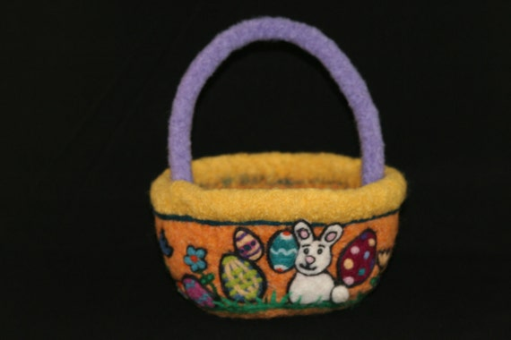 Felted Easter Basket with hand needle felted design