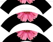 Printable Cupcake Wrappers - Pink Gabera on Black Theme (pcw101)