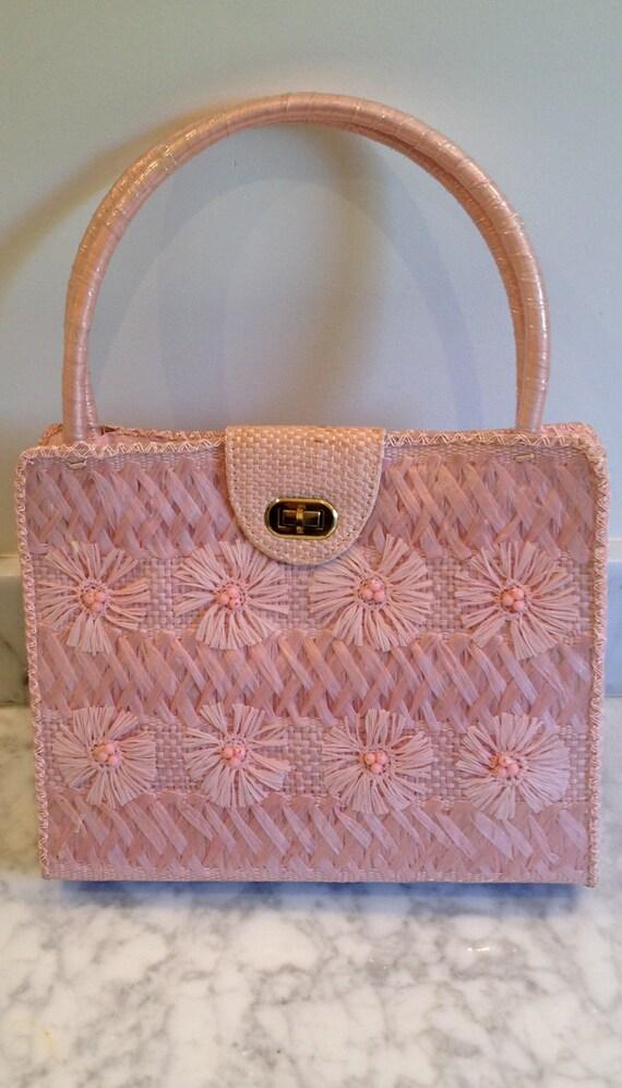 Pink 1960's Straw Handbag