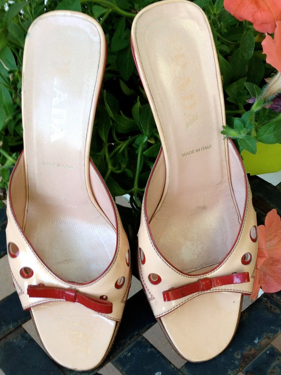 Prada Patent Leather Sandal in Pale Pink and Red