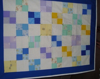 """Four patch baby quilt, 37""""x29"""" for a baby boy"""