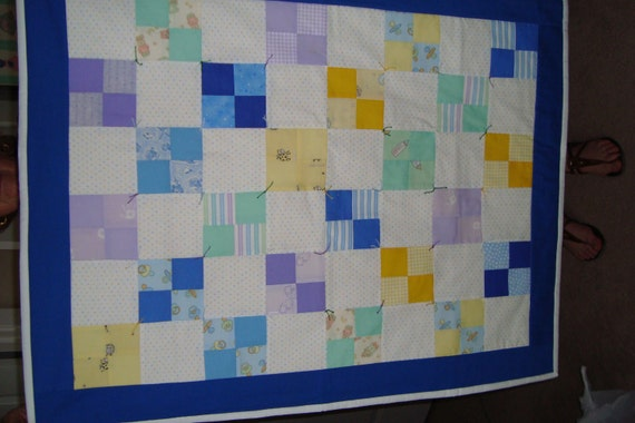 "Four patch baby quilt, 37""x29"" for a baby boy"