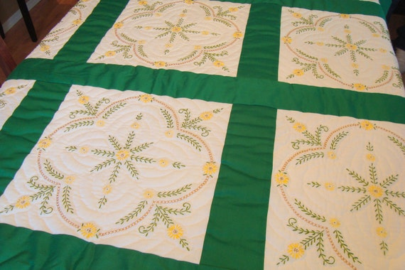Hand Embroidered Hand Quilted Green and White Quilt