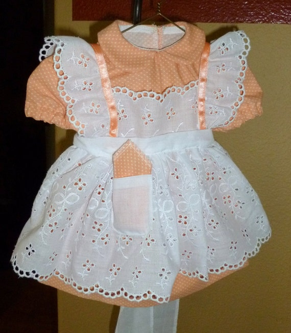 American Girl 18 inch Doll Dress with Pinafore - Peach and White