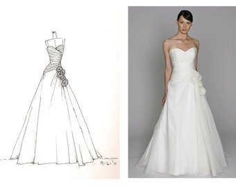 wedding dress sketch - great gift for yourself or someone else....