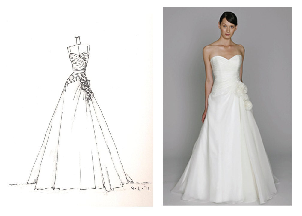 wedding dress sketch great gift for yourself or someone