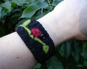 Ladybug on Black Upcycled Sweater Cuff Bracelet