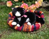Pet Bed made from Upcycled Sweater - Red & Orange Stripes