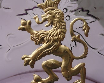 Medieval Crowned Lion  Emblem (2 pc)