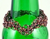 Chain Maille Bracelet, Oxidized Copper, Wavy Helm Chain