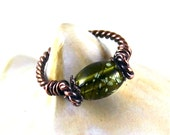 Twisted Copper Wire Ring, Olive Green Glass Art Bead