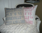 Birth Announcement Pillow Cover-Personalized at No Extra Cost