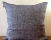 SALE- Set of Two 18x18 Blue Linen Tweed -Decorative Pillow Cover - Invisible Zipper Closure.