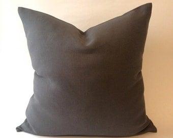 Decorative Throw Pillow Cover -Gray Linen Medium weight European Linen -Invisible Zipper Closure- Cushion Cover