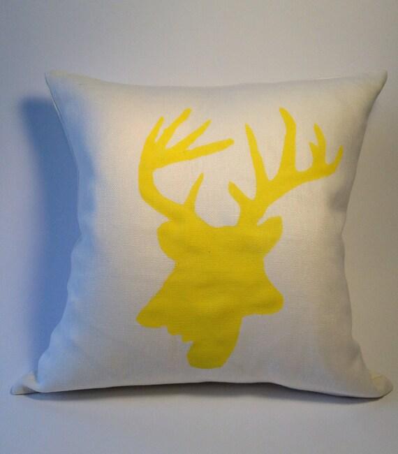 SALE - Linen Throw Pillow -16x16 - Hand Stenciled Yellow Deer Antler - Decorative Pillow Cover