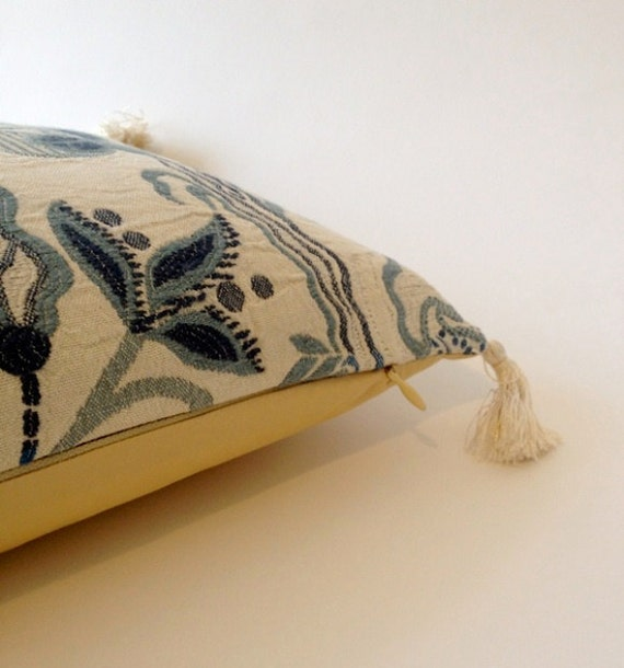 10x20 Bolster Pillow Cover - Lite Beige w/  Blue and Gray Cotton Damask - Solid Cream Cotton Percale Back -Throw Pillow with Tassels